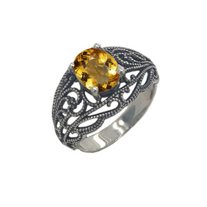 Personalized Genuine Birthstone Filigree Ring in Oxidized Sterling Silver