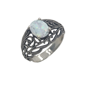 Simulated Opal Filigree Ring in Oxidized Sterling Silver