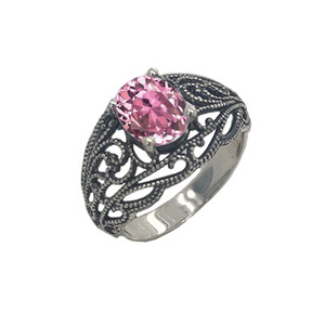 Personalized (LC) Birthstone Filigree Ring in Oxidized Sterling Silver