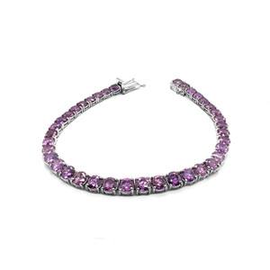 Rhodium-Plated Sterling Silver Genuine Amethyst Fancy Tennis Bracelet