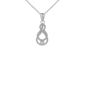 Dainty Diamond Double Infinity Knot Pendant Necklace in Sterling Silver