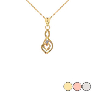 Dainty Diamond Infinity Double Heart Pendant Necklace in Gold (Yellow/Rose/White)