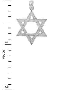 Jewish Gold Pendants - Star of David White Gold Pendant