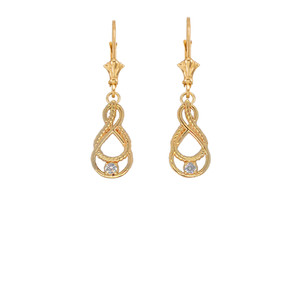 Dainty Diamond Double Infinity Knot Earrings in Gold (Yellow/Rose/White)