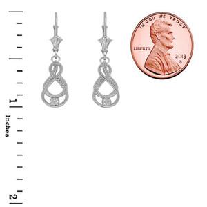 Dainty Diamond Double Infinity Knot Earrings in Sterling Silver