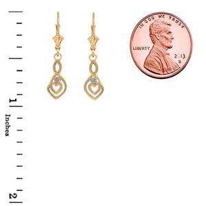 Dainty Diamond Infinity Double Heart Earrings in Gold (Yellow/Rose/White)