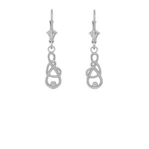 Dainty Diamond Infinity Interlaced Heart Earrings in Sterling Silver