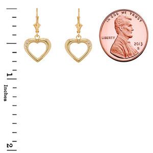 3-Stone Diamond Open Heart Leverback Earrings in Gold (Yellow/Rose/White)