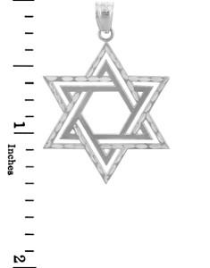Jewish Charms and Pendants - Star Satin White Gold Cross of David