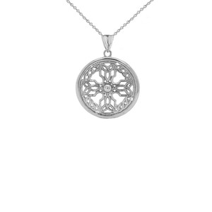 Celtic Knot Cross Shield Pendant Necklace in Sterling Silver (Small)