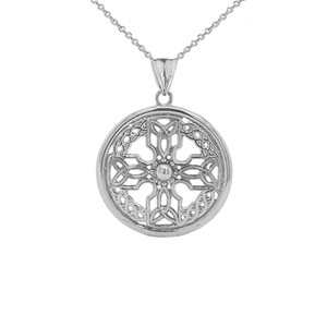 Celtic Knot Cross Shield Pendant Necklace in Sterling Silver (Large)