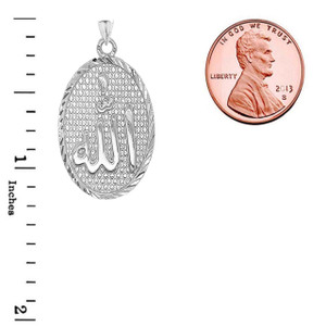 Sparkle-Cut Allah Oval Pendant Necklace in Gold (Yellow/Rose/White)