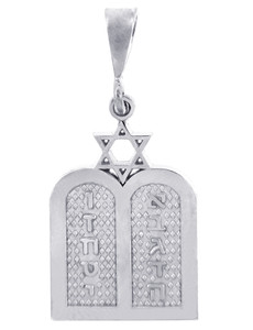 Jewish Charms and Pendants -  White Gold Ten Declarations Tablets Jewish Pendant