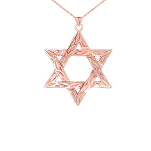 Detailed Star of David Pendant Necklace in Gold (Yellow/Rose/White) (Small)