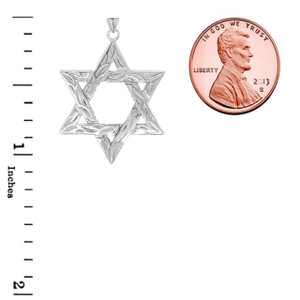 Detailed Star of David Pendant Necklace in Sterling Silver (Small)
