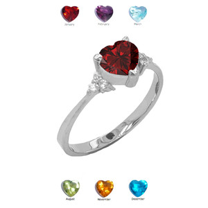 Solitaire Heart-Shaped Personalized Genuine Birthstone with White Topaz Engagement/Promise Ring in White Gold