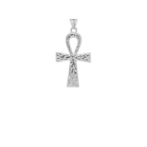 Ankh Cross Charm Pendant Necklace in Gold (Yellow/Rose/White) (Small)