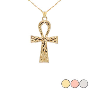 Ankh Cross Charm Pendant Necklace in Gold (Yellow/Rose/White) (Large)