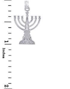 Jewish Gold Pendants - Silver Menorah Pendant Small