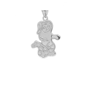 Soccer Girl Sports Charm Pendant Necklace in Sterling Silver