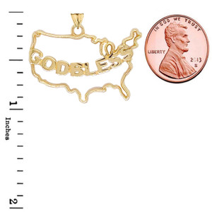 """""""GOD BLESS"""" America Outline Pendant Necklace in Gold (Yellow/Rose/White)"""