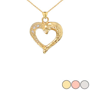 3-Stone Diamond Sparkle-Cut Open Heart Pendant Necklace in Gold (Yellow/Rose/White)
