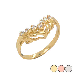 7-Stone Chevron Wedding Ring in Gold (Yellow/Rose/White)