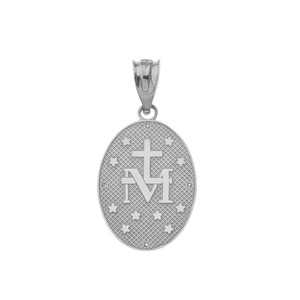 Mary Mother of Jesus Oval Medallion in Sterling Silver CZ Pendant Necklace