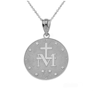 Mary Mother of Jesus Circle Sterling Silver Medallion CZ Pendant Necklace