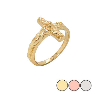 Sideways Crucifix Cross Statement Ring in Gold (Yellow/Rose/White)