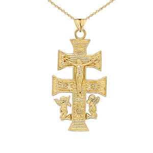 CARAVACA DOUBLE CROSS WITH ANGELS CRUCIFIX PENDANT in Gold (Yellow/Rose/White)
