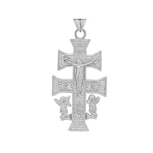 CARAVACA DOUBLE CROSS WITH ANGELS CRUCIFIX PENDANT in Sterling Silver