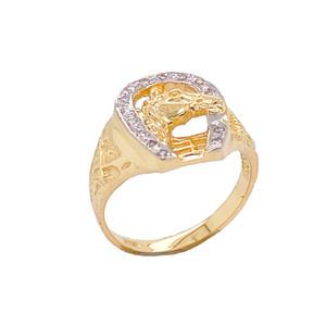 Diamond Horseshoe Ring in Gold (Yellow/Rose/White)