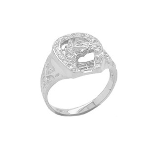 Diamond Horseshoe Ring in Sterling Silver
