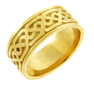Yellow Gold Celtic Knot Men's Wedding Ring Band.  Available in your choice of 14k or 10k Gold.