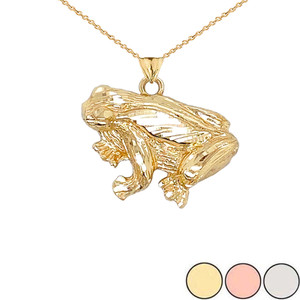 Frog Necklace Pendant in Gold (Yellow/Rose/White)
