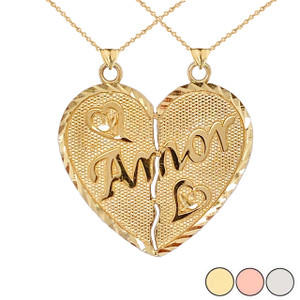 """Amor"" Breakable Double-Sided Heart Pendant ""Nunca Separados, Siempre Juntos"" in Gold(Yellow/Rose/White)"