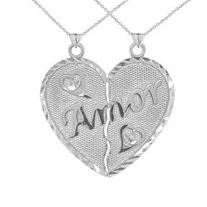 """""""Amor"""" Breakable Heart Pendant """"Nunca Separados, Siempre Juntos"""" in Sterling Silver"""