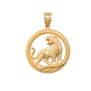Tiger Round Pendant Necklace in Solid Gold (Yellow/Rose/White)