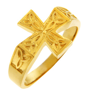 Yellow Gold Men's Celtic Trinity Cross Ring.  Available in your choice of 14k or 10k gold.
