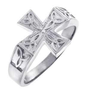 White Gold Mens Celtic Trinity Cross Ring