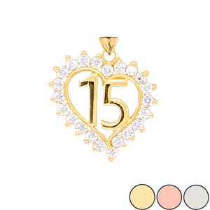 15 Quinceañera Pendant Necklace In Gold (Yellow/Rose/White)