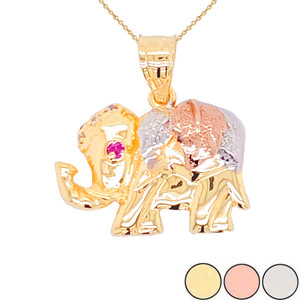 Designer Elephant Charm Pendant Necklace in Gold (Yellow/Rose/White)