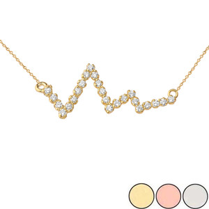 Diamond Heart Beat Necklace in Gold (Yellow/Rose/White)