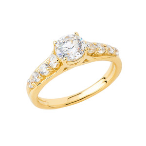 Round Sidestone Engagement Ring in Gold (Yellow/Rose/White)