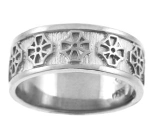 White Gold Celtic Cross Wedding  Ring Band
