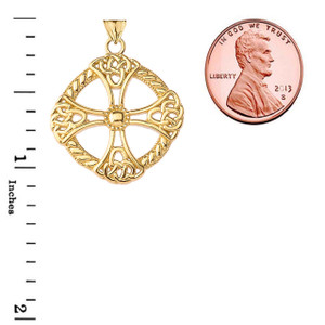Celtic Knot Cross Protector Shield in Gold (Yellow/Rose/White)