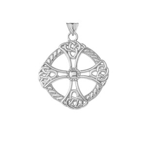 Celtic Knot Cross Protector Shield in Sterling Silver