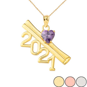 2021 Graduation Diploma with Birthstone CZ Pendant Necklace In Gold (Yellow/Rose/White)