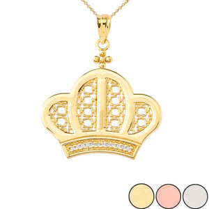 Royal Crown Pendant Necklace In Gold (Yellow/Rose/White)